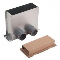 Helios FRS-MBK 2-75 распределительный напольный пленум на 2 круглых штуцера диаметром 75 мм., для напольной решётки (арт. 3872)