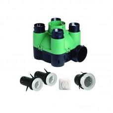 SEKOIA 4P+INV Aldes. Комплект: центральный вентилятор для жил. помещений, мощность до 83 Вт, до 150 м³/ч + вытяжные решетки