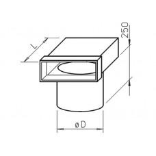 Helios FK-EV 150/100 Концевик плоскоканальной системы 150 x 50 мм, 90°, разъем для тарельчатых клапанов, 100 мм. (арт. 2937)