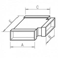 Helios FK-T 150/150/200 Плоскоканальная система, T-образное разветвление 2 x 150 x 50 мм, 1 x 200 x 50 мм, оцинкованная листовая сталь (арт. 2923)