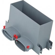 Helios FRS-WBK 2-51 FlexPipe стенно-напольный распределительный ящик 2 овальных штуцера, диаметр 51 мм для стеновой-/напольной решётки (арт. 3877)